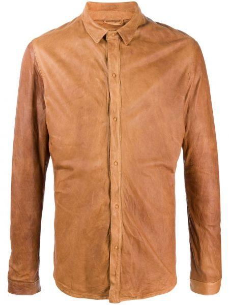 Brązowa klasyczna koszula bawełniana z długimi rękawami Giorgio Brato