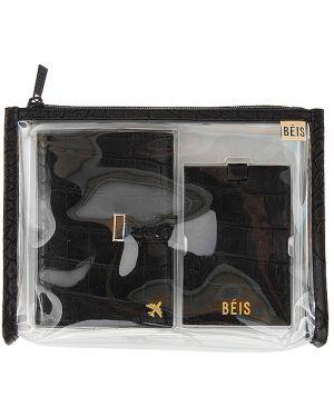 Czarna torba podróżna skórzana z niskim stanem Beis