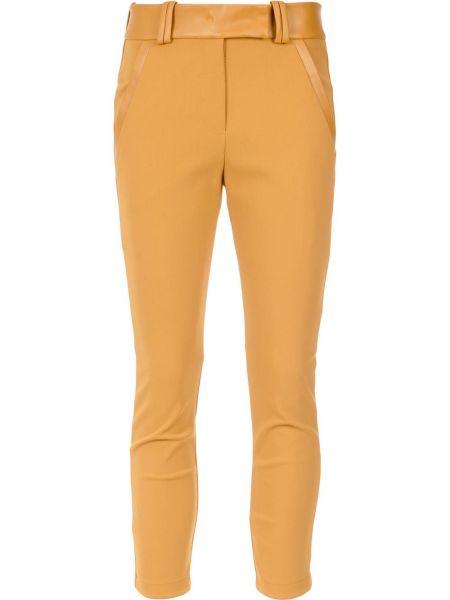 Желтые кожаные леггинсы Gloria Coelho