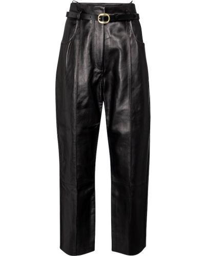 Кожаные черные брюки с поясом Petar Petrov
