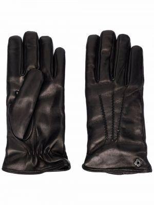 Czarne rękawiczki skorzane Lardini