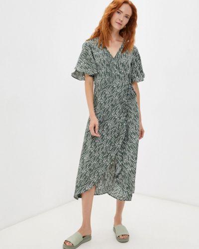 Зеленое платье на запах Elena Andriadi
