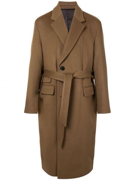 Коричневое шерстяное длинное пальто с лацканами с карманами Wooyoungmi
