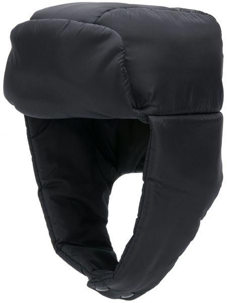Czarny czapka z nausznikami z nylonu Prada
