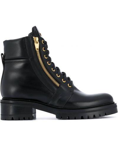 Кожаные черные ботинки на каблуке на молнии на каблуке Balmain