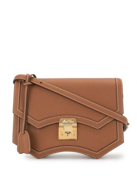 Кожаная коричневая сумка на плечо на молнии с карманами Mark Cross