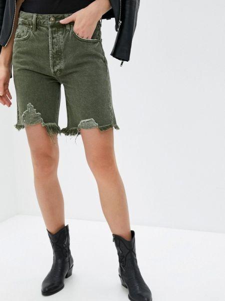 Джинсовые шорты хаки зеленый Free People