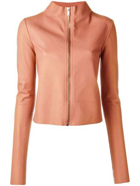 Розовая кожаная короткая куртка Rick Owens Lilies