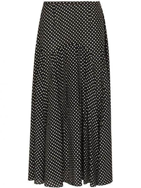 Czarny pofałdowany bawełna bawełna spódnica midi Rixo