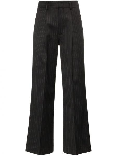 Spodnie z wysokim stanem z paskiem - czarne Ader Error
