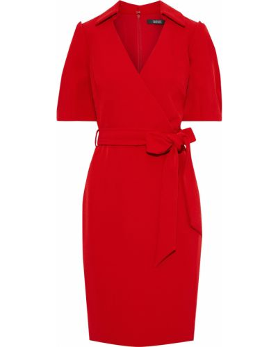 Плиссированное платье с поясом на крючках Badgley Mischka