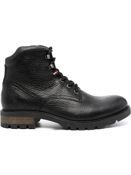 Черные кожаные ботинки на шнуровке Tommy Hilfiger
