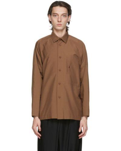 Brązowa koszula bawełniana z długimi rękawami 132 5. Issey Miyake