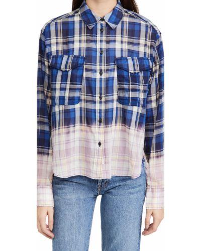 Niebieska koszula bawełniana z długimi rękawami Rag & Bone