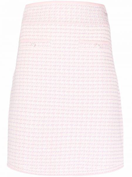 Розовая прямая юбка твидовая с завышенной талией Sandro Paris