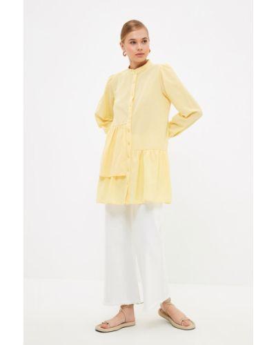 Tunika bawełniana - żółta Trendyol