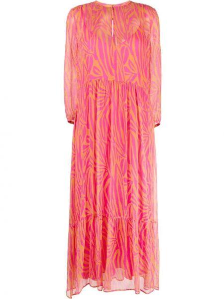 Розовое платье миди с вырезом из вискозы Luisa Cerano