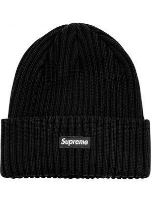 Czarny kapelusz z haftem z akrylu Supreme