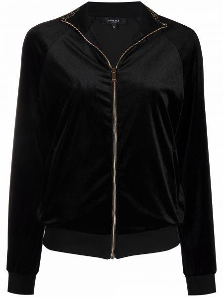 Черная длинная куртка Versace