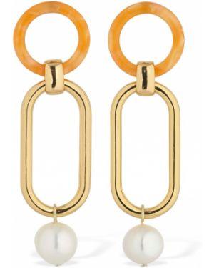 Pomarańczowe złote kolczyki sztyfty perły Aym