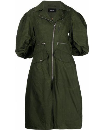 Зеленое пальто с карманами Simone Rocha