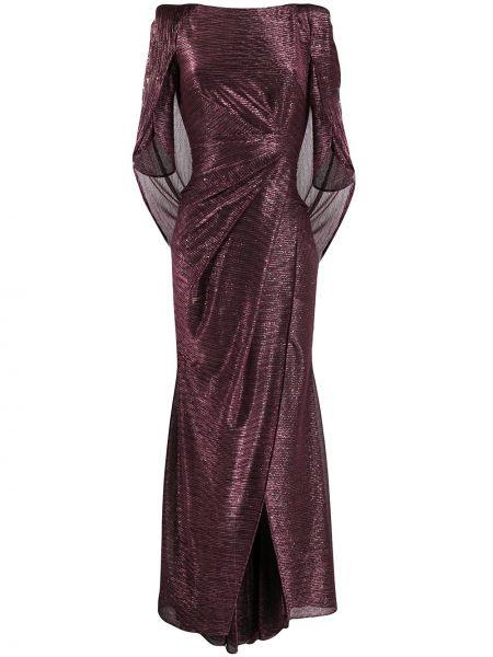 Красное прямое шелковое платье мини с воротником Talbot Runhof