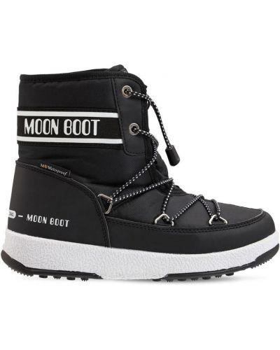 Кожаные ботильоны - черные Moon Boot