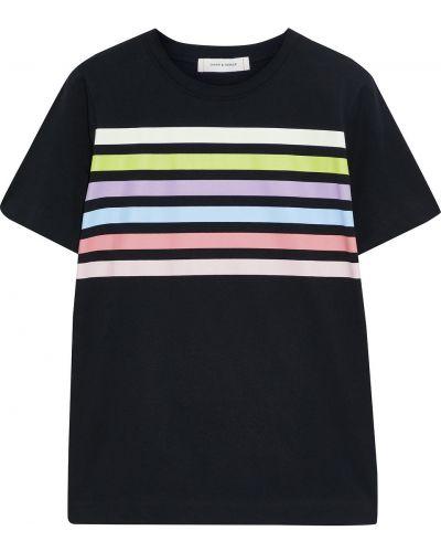 Хлопковая черная футболка в полоску Chinti And Parker