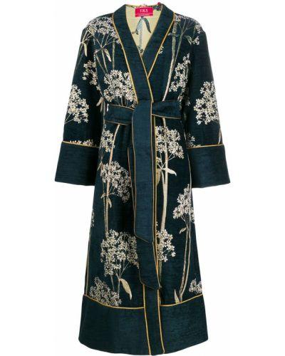 Синее длинное пальто с поясом F.r.s For Restless Sleepers