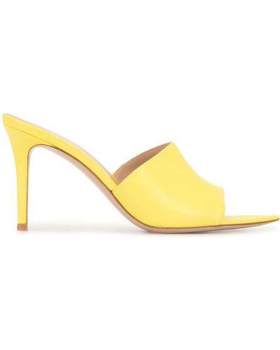 Otwarty żółty muły na pięcie otwarty palec u nogi Gianvito Rossi
