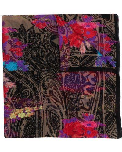 Платок с вышивкой черный Etro