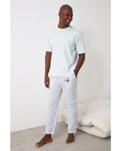 Biała spodni piżama bawełniana w paski Trendyol