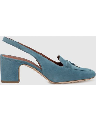 Замшевые туфли - синие Loro Piana