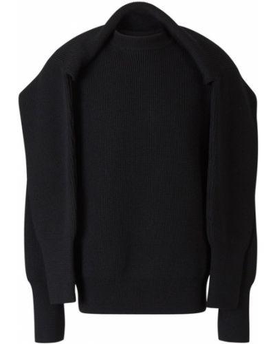 Wełniany czarny sweter z kołnierzem Balenciaga