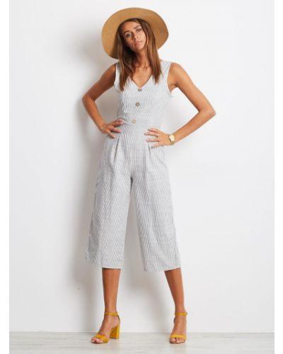 Biały kombinezon w paski bawełniany Fashionhunters
