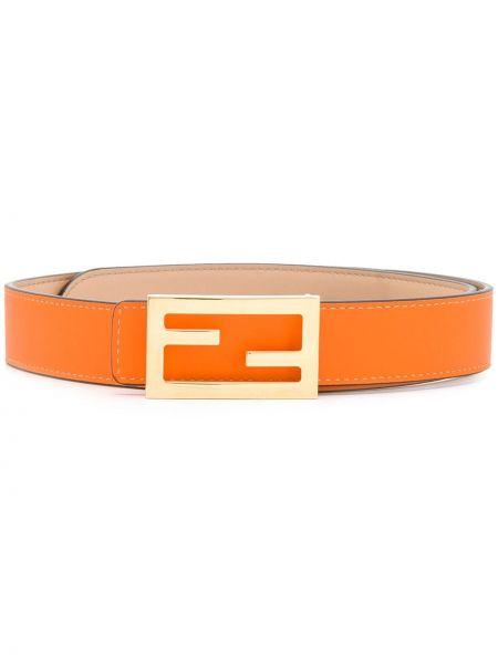 Оранжевый кожаный ремень с пряжкой Fendi