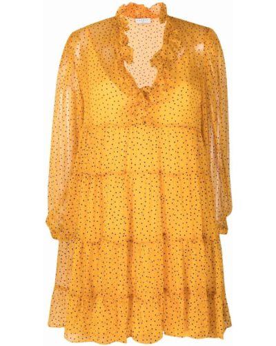 Оранжевое шелковое платье макси в горошек Sandro Paris