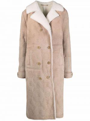 Długi płaszcz skórzany z długimi rękawami Philipp Plein