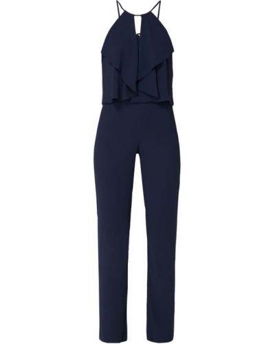 Niebieski spodni kombinezon z zamkiem błyskawicznym z kieszeniami z dekoltem Swing