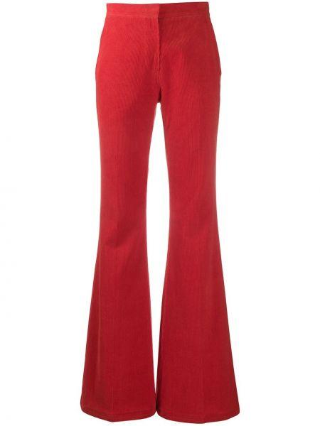 Spodnie z wysokim stanem sztruksowe rozkloszowane Pushbutton