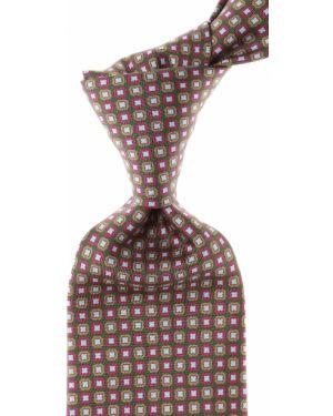 Beżowy krawat z jedwabiu Battistoni