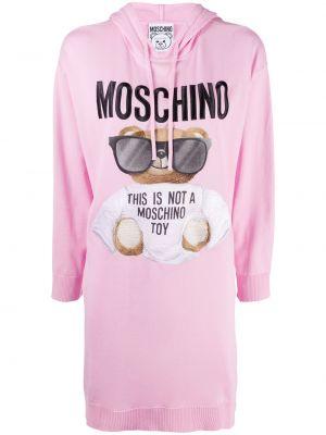 Прямое розовое платье макси с вышивкой Moschino