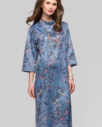 Коктейльное платье осеннее синее 1001dress