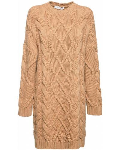 Шерстяное коричневое вязаное платье макси Max Mara