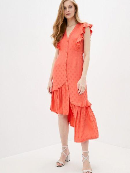 Коралловое повседневное платье Three Floor