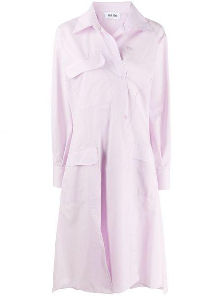 Fioletowa sukienka długa rozkloszowana z długimi rękawami Each X Other