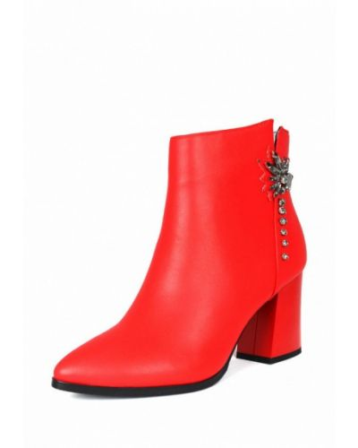 Кожаные ботильоны красные на каблуке Blizzarini