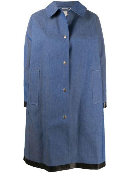 Синее кожаное пальто классическое с воротником Mackintosh