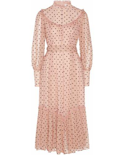 Коктейльное платье розовое в горошек Zimmermann