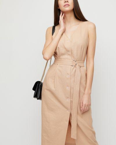 Приталенное льняное платье миди на пуговицах без рукавов Cardo